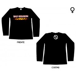 Bad Religion - Long Sleeve de Mulher - Flaming Logo