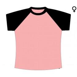T-Shirt Mulher Meia Cava - Conjugação de Duas Cores